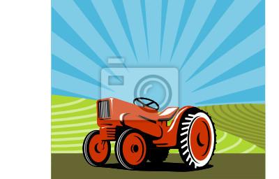 Tractor con tierras de cultivo