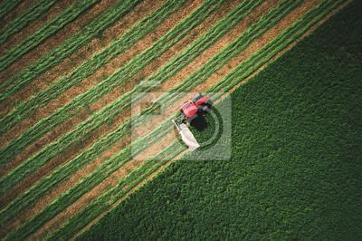 Tractor cortando campo verde