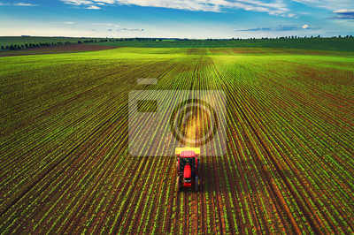 Tractor cultivating field at spring, aerial top drone view