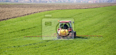 Tractor fumigación de campo de trigo con el rociador