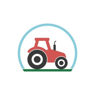 Tractor icon flat illustration for graphic and web design isolated on white background