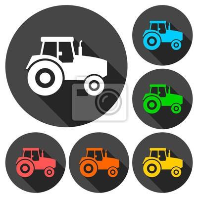 Tractor iconos conjunto con sombra larga
