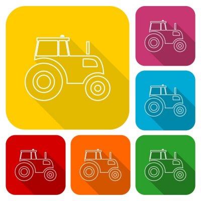 Póster Tractor iconos conjunto con sombra larga