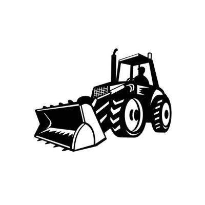 Tractor Mechanical Digger Excavator Black and White