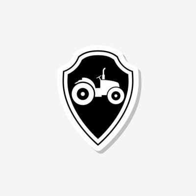 Tractor on shield sticker isolated on gray background
