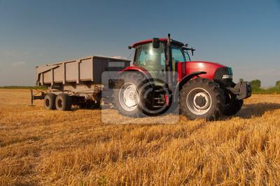 Póster Tractor rojo moderno en el campo agrícola en el día soleado de verano
