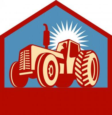 Tractor y agricultor de conducción