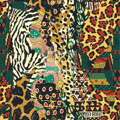 Traditional african fabric and wild animal skins patchwork wallpaper vector seamless pattern
