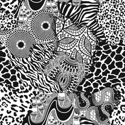 Traditional ethnic african fabric and wild animal skins abstract vector seamless pattern wallpaper in black and white