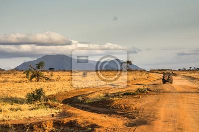 Tramonto nel Jeep della savana