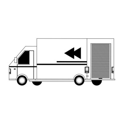 transport traffic delivery logistic cartoon in black and white