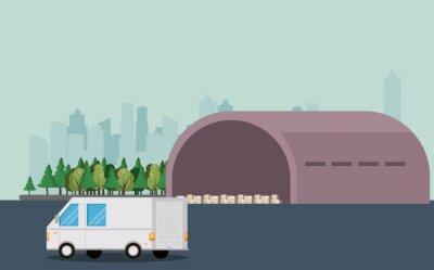 transport vehicle delivery van cartoon