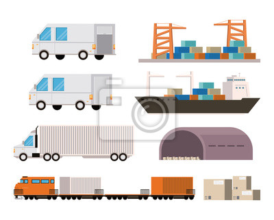 transportation merchandise logistic cargo cartoon