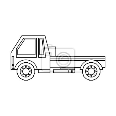 transportation truck logistic shipping cartoon in black and white