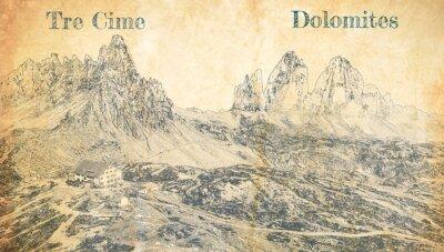 Póster Tre Cime di Lavaredo in Dolomites, Italy, sketch on paper