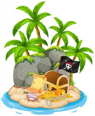 Póster Treasure on island beach scene