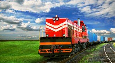 Póster Tren de carga con espacio para texto