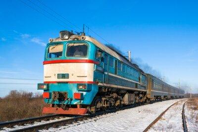 Póster Tren de cercanías diesel en Ucrania.
