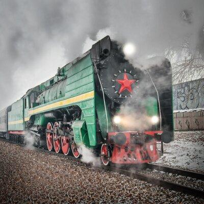 Póster Tren de pasajeros retro de vapor se va rápido.