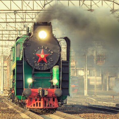 Póster Tren de vapor retro.