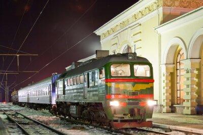 Póster Tren diesel de la carga y de pasajeros