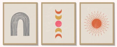 Póster Trendy contemporary set of abstract geometric minimalist composition