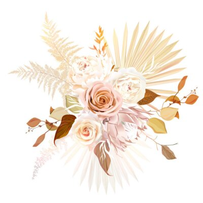 Póster Trendy dried palm leaves, blush pink rose, pale protea, white ranunculus, pampas grass vector