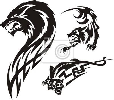 Tres Dibujos De Un Lobo Tribal Predators Carteles Para La Pared