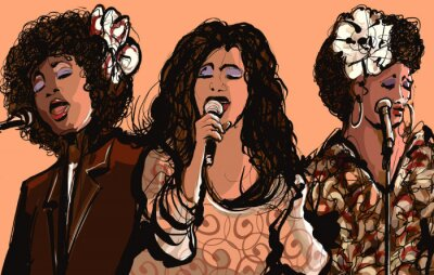 Póster Tres mujeres cantantes de jazz