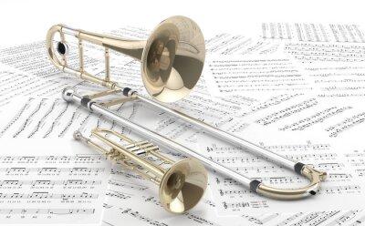 Póster Trombón y Trompeta Sobre partituras 2
