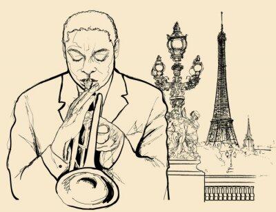Póster trompetista de jazz en Alexander puente en París (pluma de tinta de dibujo)