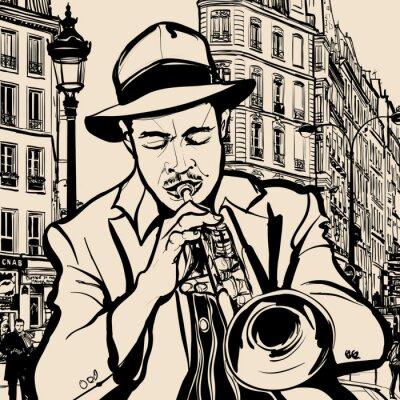 Póster trompetista sobre un fondo paisaje urbano