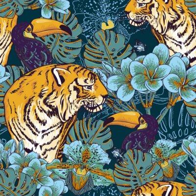 Póster Tropical fondo floral sin fisuras con Tiger