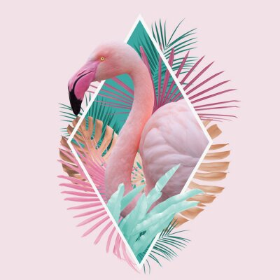 Póster tropical leaves flamingo design in light pink, turquoise and golden colors, can be used as background, wallpaper