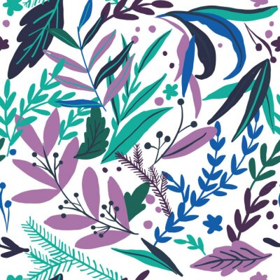 Póster Tropical seamless leaves pattern. Vector illustration. Stylish repeating texture. Repeating texture with leaves.