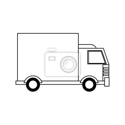 truck transport merchandise vehicle cartoon in black and white