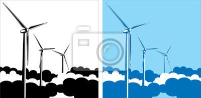 turbinas de viento en las nubes
