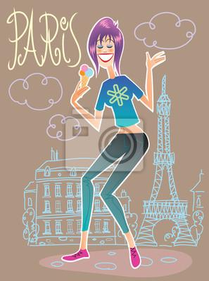 Turístico de moda en París comiendo helado