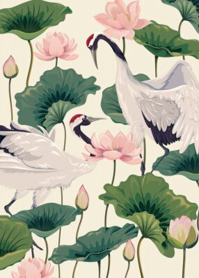 Póster two japanese cranes and pink lotus