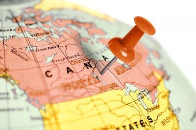 Ubicación Canadá. Contacto rojo en el mapa.
