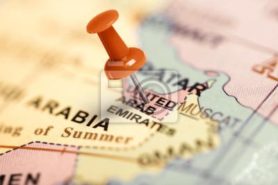 Ubicación Emiratos Árabes Unidos. Contacto rojo en el mapa.
