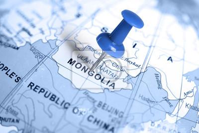 Ubicación Mongolia. Pin azul en el mapa.