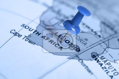 Ubicación Sudáfrica. Pin azul en el mapa.