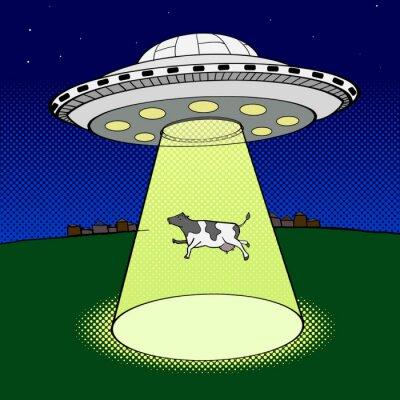 Póster UFO toma vector de estilo pop de vaca