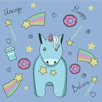 Póster Un conjunto de pegatinas con unicornio, dulces y estrellas.