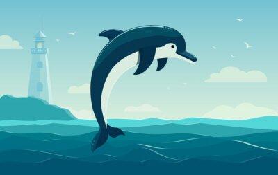 Póster Un delfín saltando, fondo azul del mar con las ondas y el faro. Ilustración vectorial