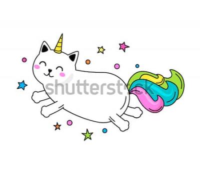 Póster Un divertido personaje de gato unicornio salta por el cielo. Ilustración vectorial plana