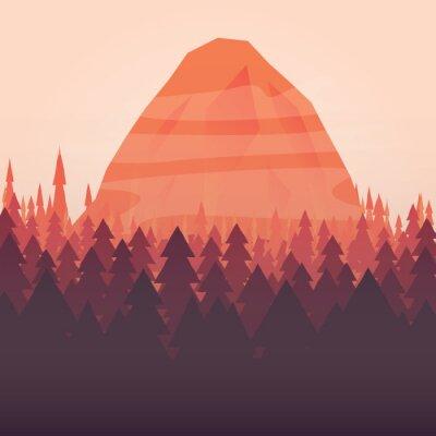 Póster Un fondo de bosque y la montaña puesta de sol ilustrada