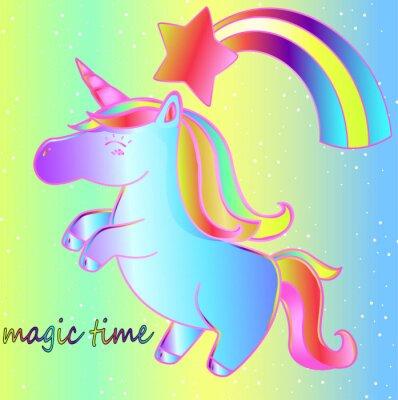 Póster Un unicornio y un arcoiris sobre un fondo de neón brillante es un momento mágico. Cartel brillante de cuento de hadas para niños