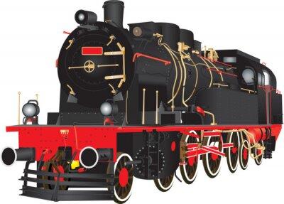 Póster Un veterano de carga pesada ferrocarril de ferrocarril locomotora aislados en blanco